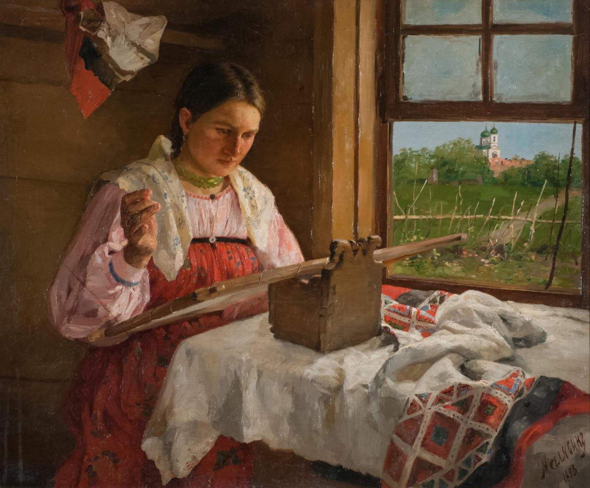 Сарафаны на картинах художников: Крестьянская девушка за вышиванием